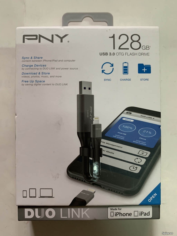 Usb 3.0 OTG PNY 128Gb usa 2 đầu cắm dành cho iphone, ipad, và laptop, end 23h00-21/10/2019