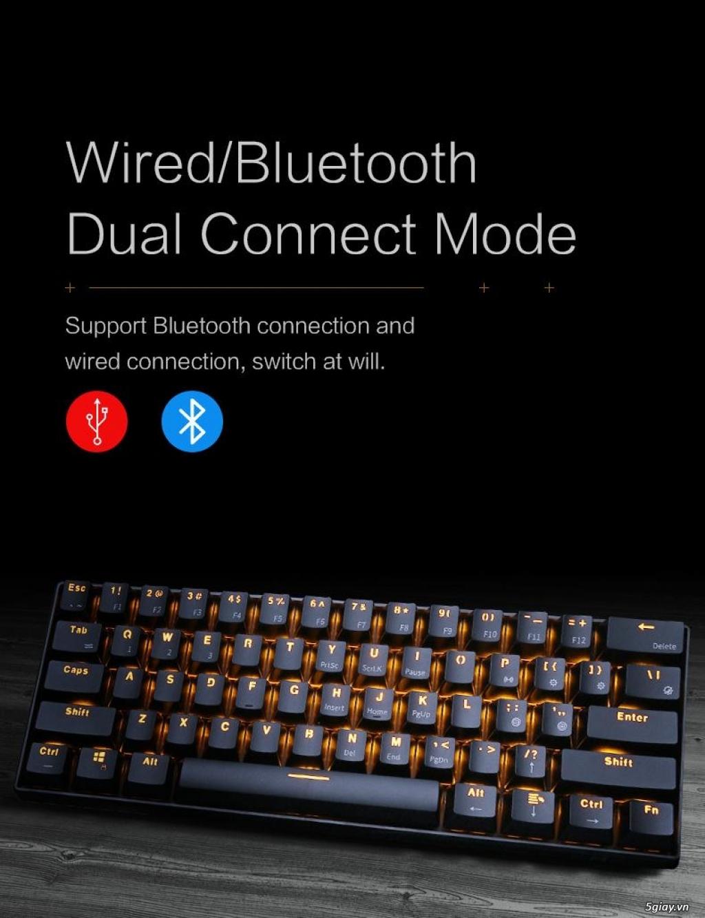 Bàn Phím Cơ Không Dây Bluetooth Cao Cấp, 61 Phím, Red Switch, LED Mono