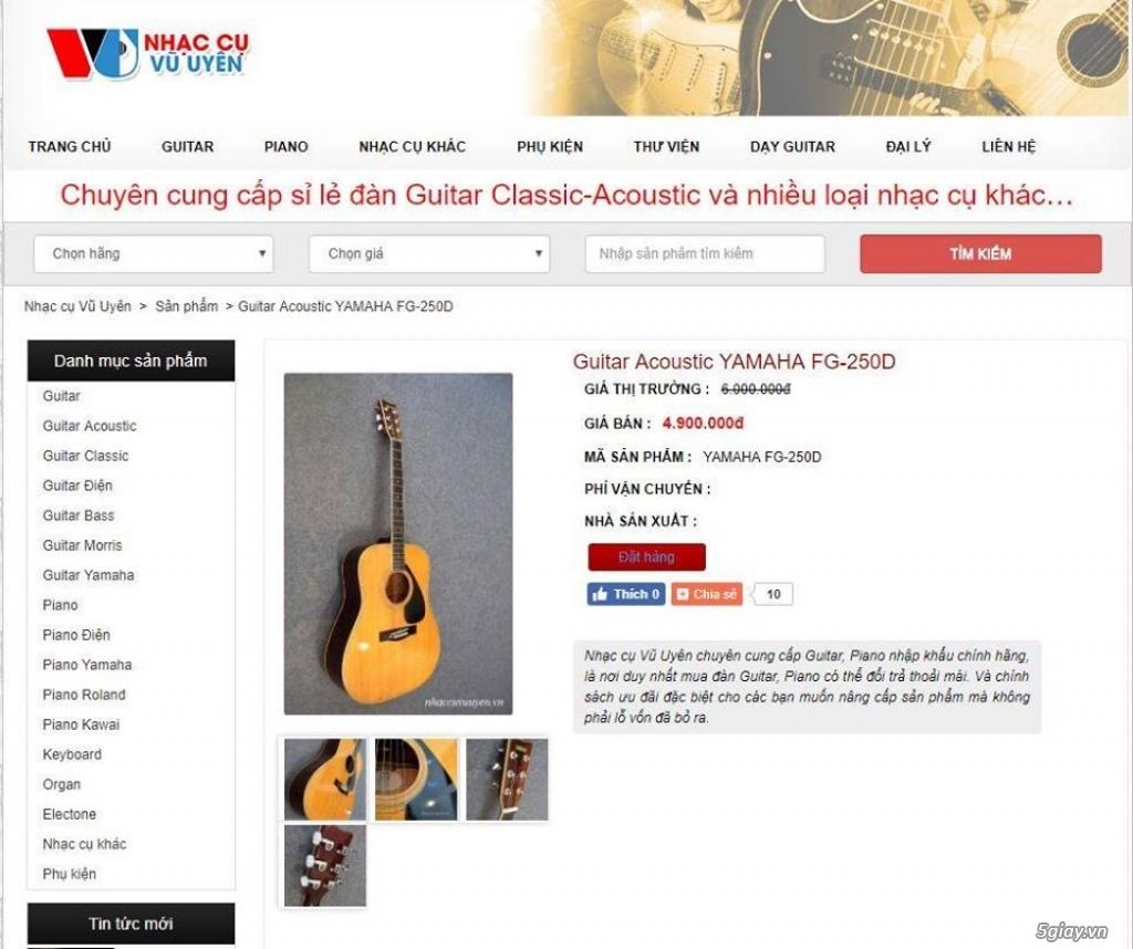 Guitar Yamaha FG250D đã gắn EQ Fishman Pro-PSY-301 chính ...