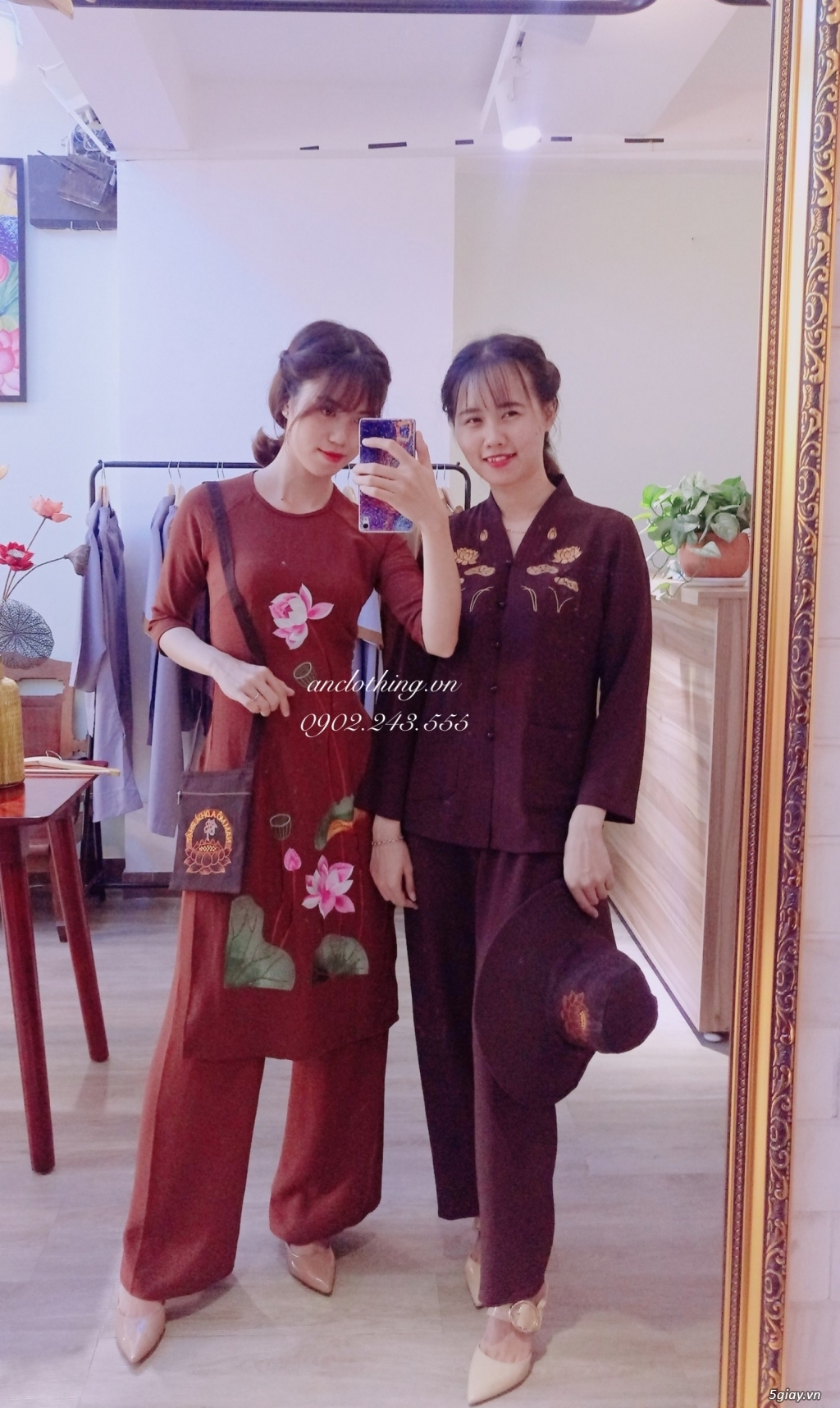 Áo dài cách tân Phật tử đi lễ - Pháp phục cao cấp hcm ANCLOTHING