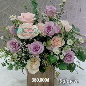 Giỏ hoa để bàn sang trọng