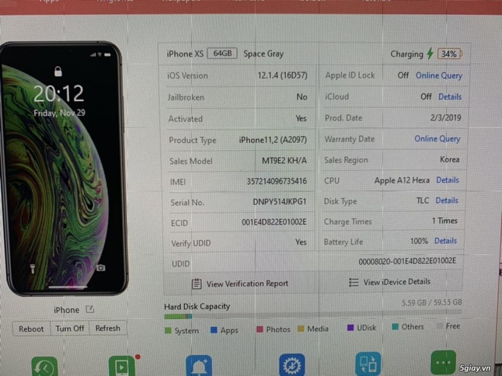 iPhone Xs Grey 64G Quốc Tế Xách tay - Đẹp 99,99 Mới sạc 1 lần - 2