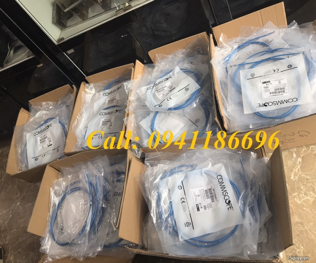Dây nhảy patch cord 3m Cat6 Blue commscope/amp mã