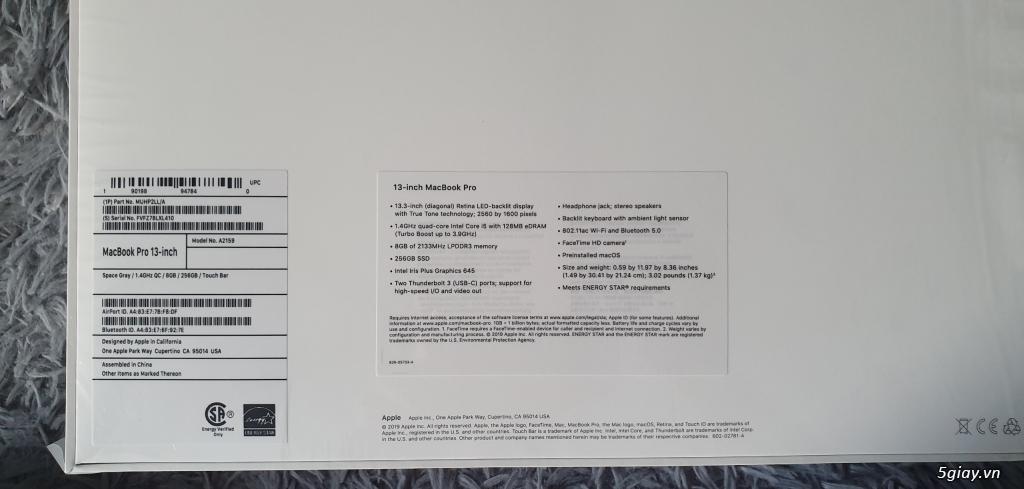 [Nguyên Seal] MacBook Pro 2019 - 13 Touch Bar i5 1.4GHz/ 8GB/ 256GB - 1