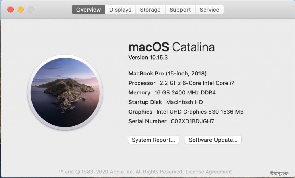 Macbook Pro 15 2018 MR932LL  Apple Care 2021