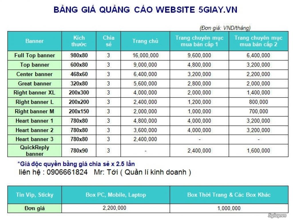 Báo giá Quảng Cáo trên 5giay.vn - 2