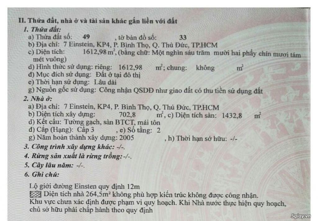 136 tỷ lấy Số 7, đường Einstein, Q. Thủ Đức + DT 1.612m2 (chủ bán) - 3