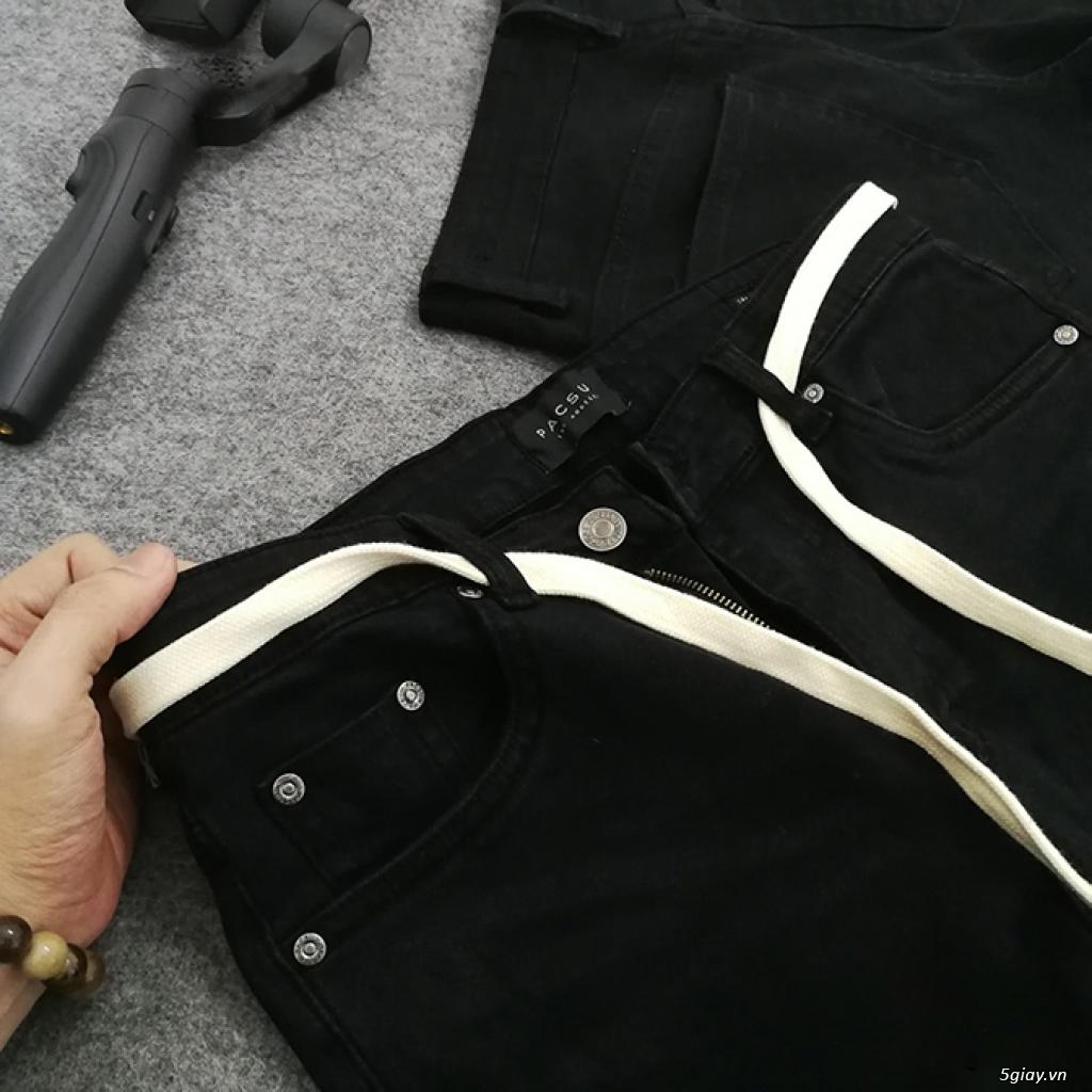 Quần Skinny Jeans Nam đen trơn Zipper - 1