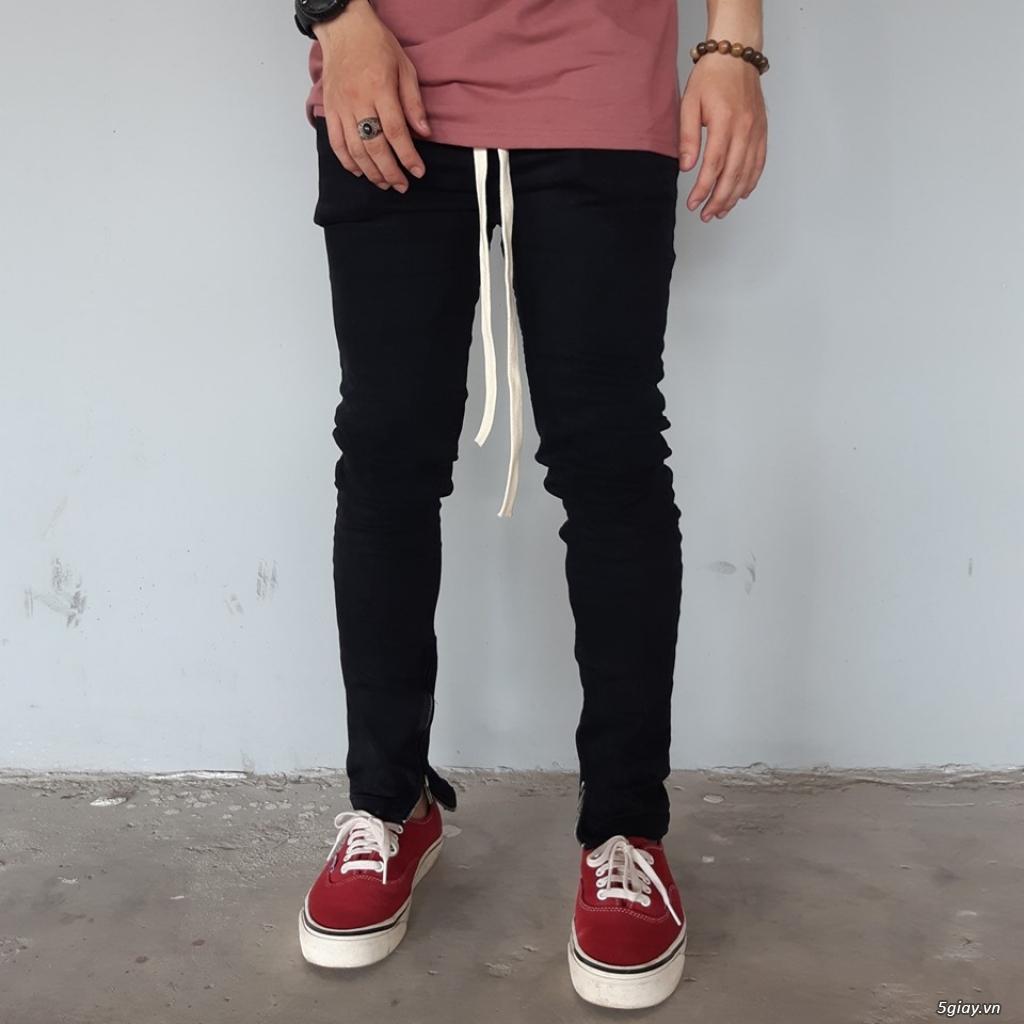 Quần Skinny Jeans Nam đen trơn Zipper
