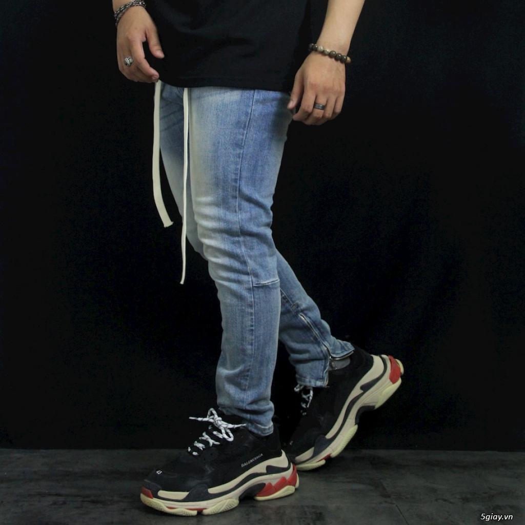 Quần Jeans Nam Skinny Zipper YKK Blue wax trơn demin - 1