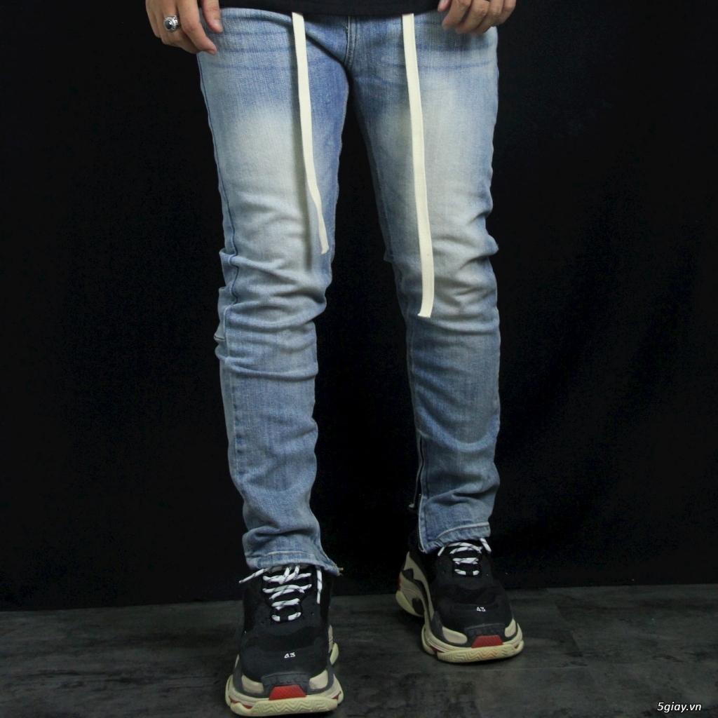 Quần Jeans Nam Skinny Zipper YKK Blue wax trơn demin - 3