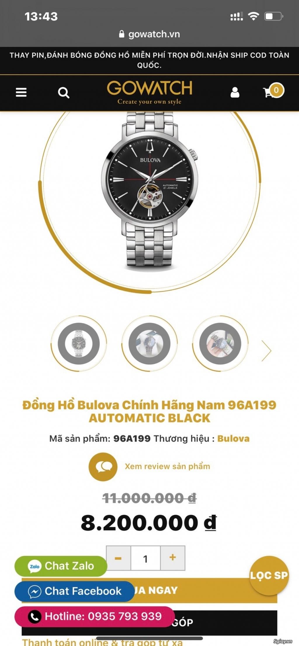 Đồng hồ Bulova 96A199 GIÁ BAO TỐT - 1