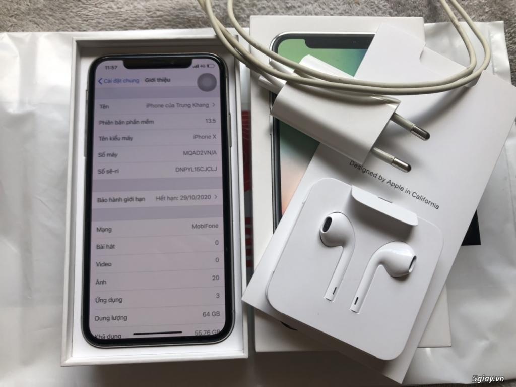 Iphone X, 64GB, Silver, chính hãng TGDĐ
