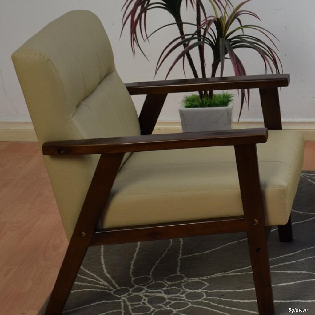 HW147 Ghế sofa đơn bọc simili khung gỗ tràm - 5