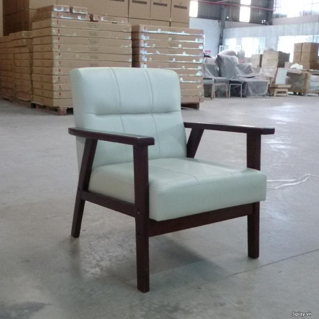 HW147 Ghế sofa đơn bọc simili khung gỗ tràm