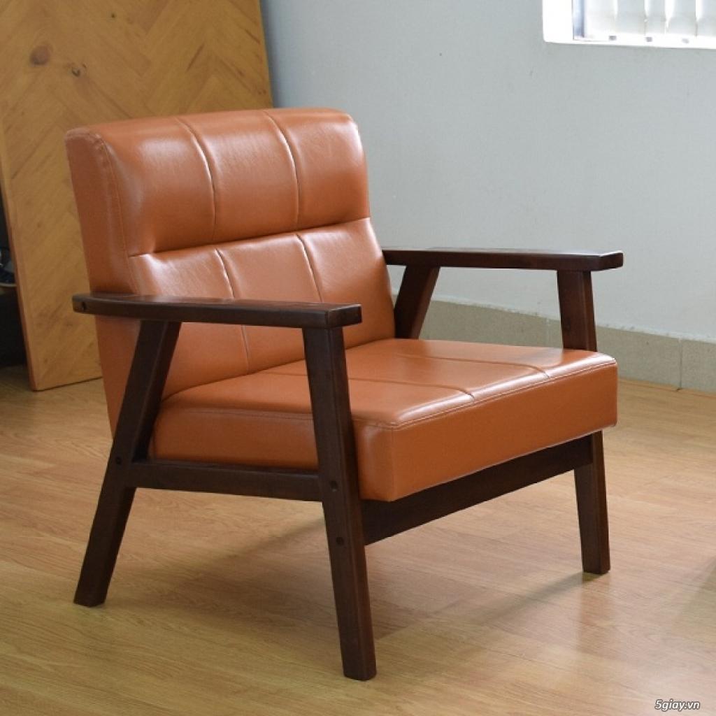 HW147 Ghế sofa đơn bọc simili khung gỗ tràm - 3