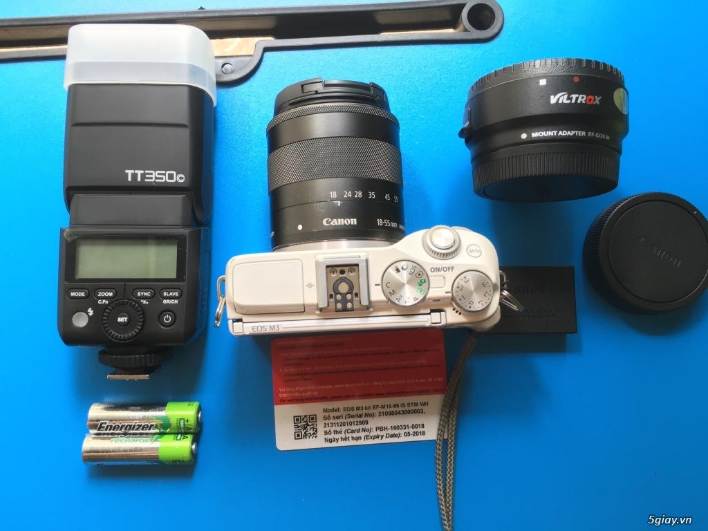 Combo Canon M3 + kit 18-55 fullbox LBM, flash TT350+ pin sạc, ngàm M - 1