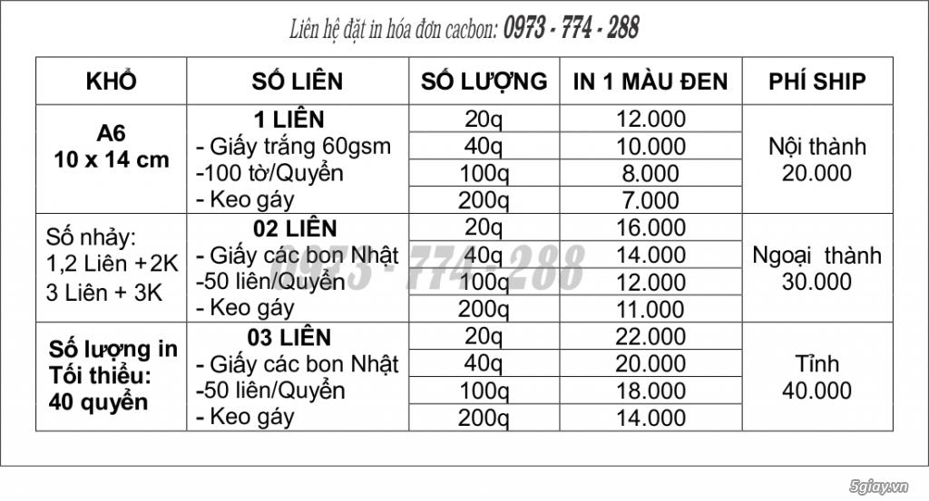 Bảng giá in hóa đơn 1 liên, 2 liên, 3 liên A6