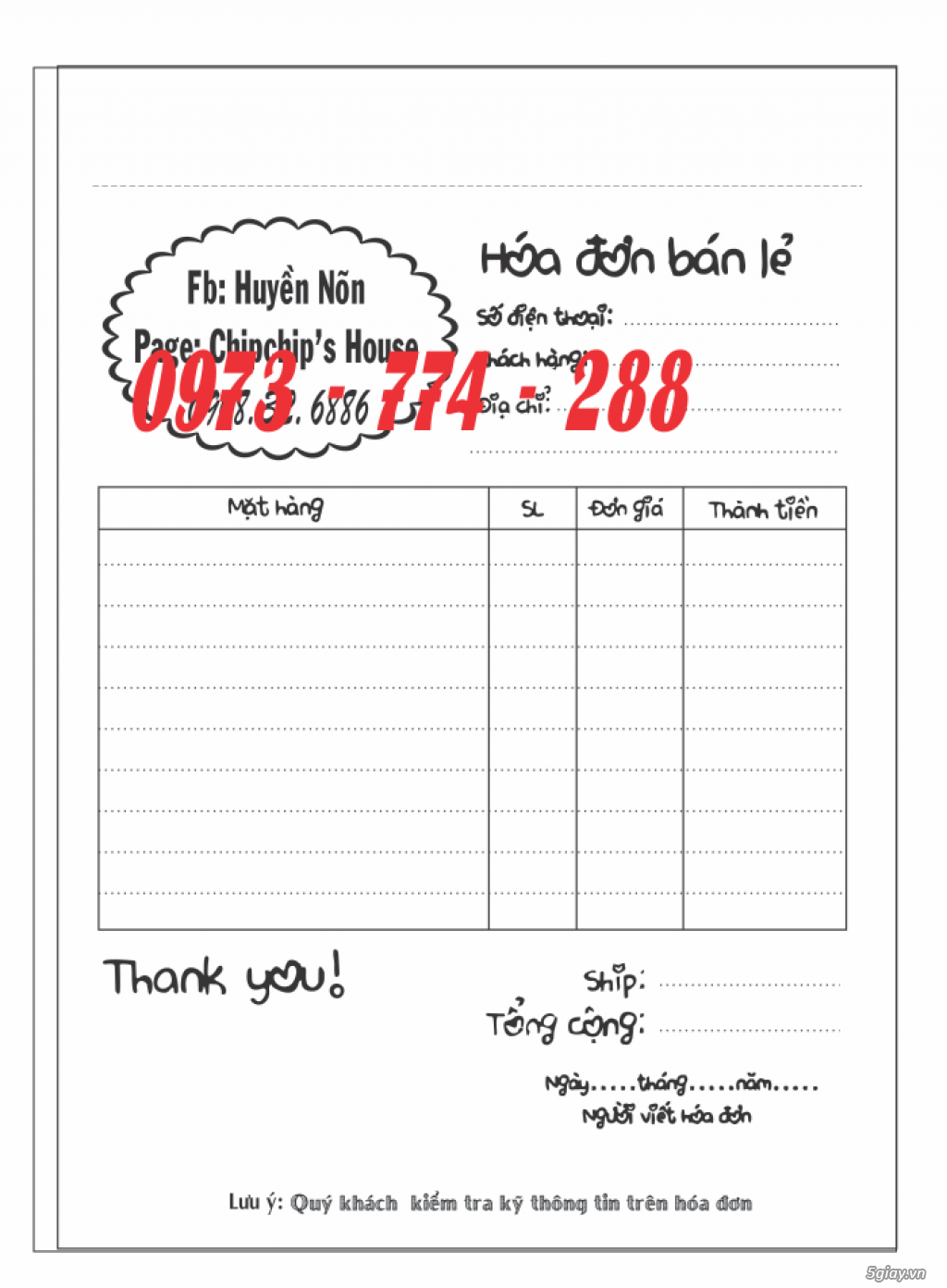 Bảng giá in hóa đơn 1 liên, 2 liên, 3 liên A6 - 4