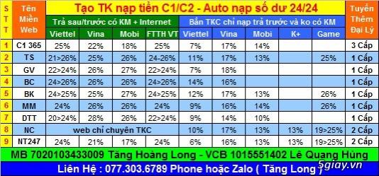 Tạo TK nạp tiền ĐTDĐ + Game + Internet CK cao  - và web nạp 1k nuôi sim SLL - Auto cộng số 24/24
