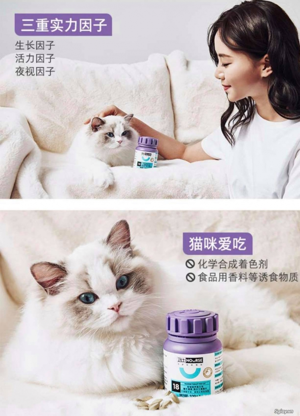 Dinh dưỡng cho mèo cung cấp Taurine tốt cho tim mạch (Nourse 200v) - 2