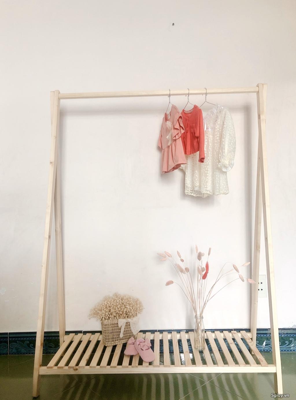 xả 3 bộ Kệ treo quần áo dáng Hàn Quốc - gỗ thông 100%