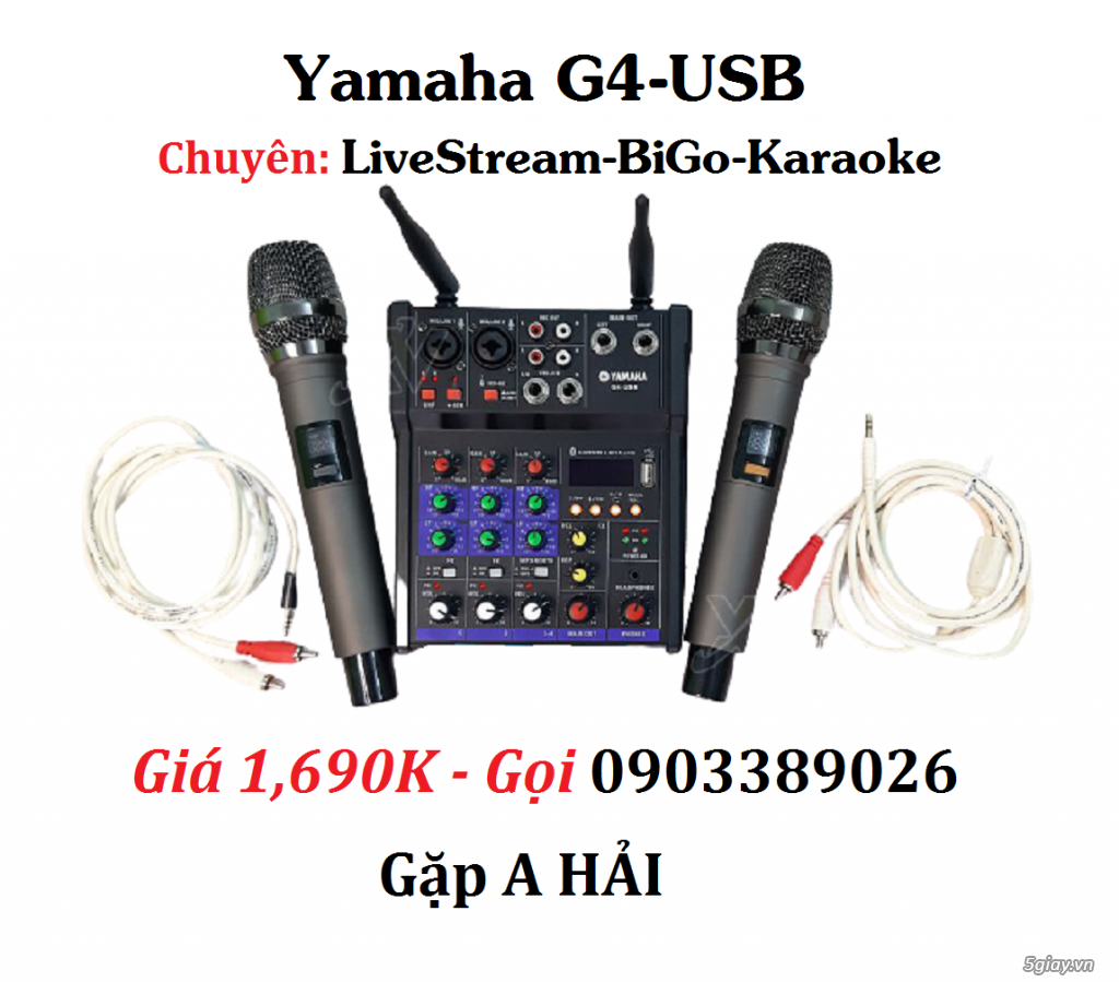 Mixer+Micro không dây Yamaha G4-USB chuyên karaoke, Livestream - 1