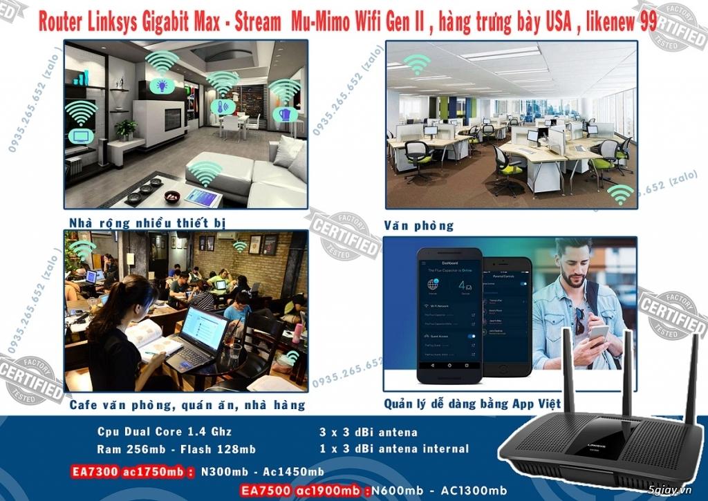 Bộ phát wifi Linksys EA7500 v2 AC1900mb max-stream mu-mimo hàng USA rẻ - 1