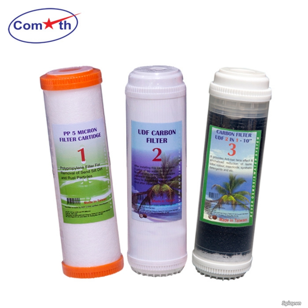 Bộ 3 lõi lọc nước số 1, 2, 3 Comath - phù hợp đa số dòng máy lọc nước
