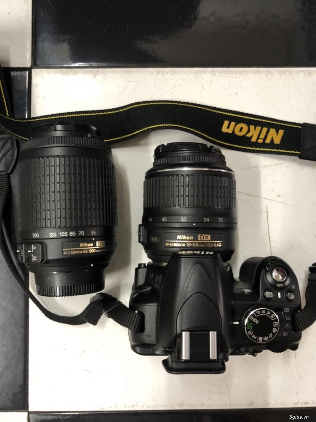 Máy ảnh Nikon D3100 kèm 2 len 18-55, 55-200