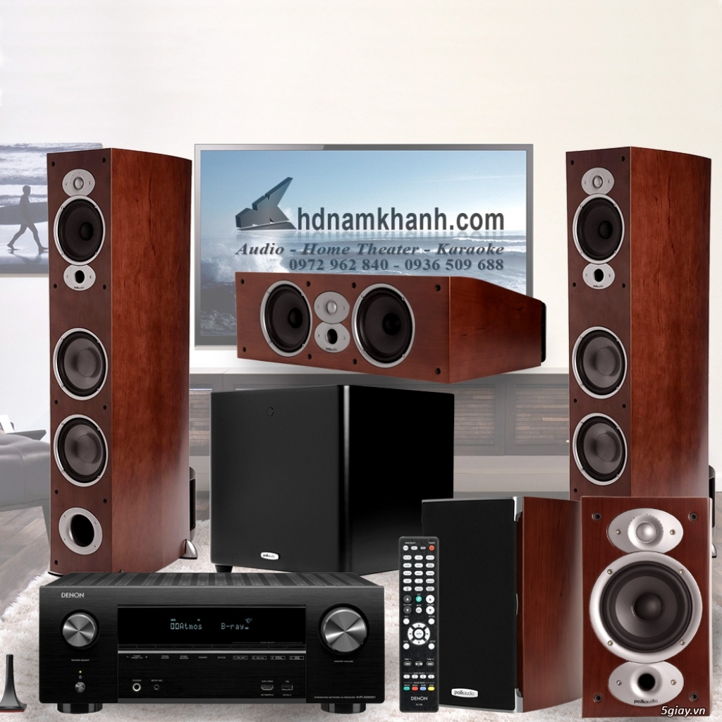 Amply Denon X1600H + Bộ Loa Polk Audio A7 rất sang trọng, âm thanh hay