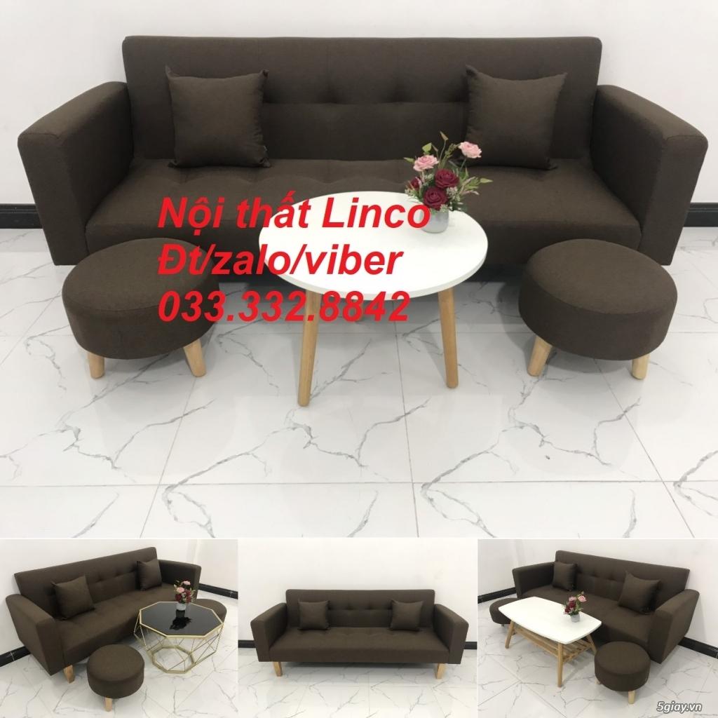 Combo bộ ghế sofa giường tay vịn, sofa băng sfgtv06 màu cafe sữa Linco