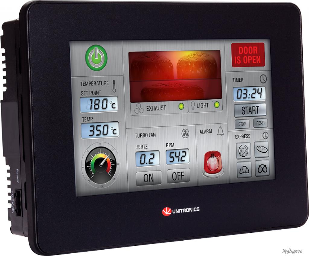"UniStream 5"" Built-in: PLC + HMI + I/Os  đạt tiêu chuẩn: UL, CE, EAC."