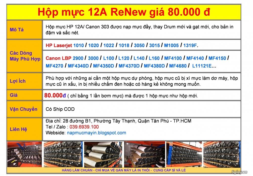 Hộp mực Canon 2900 / HP 1020 Renew giá 80.000đ