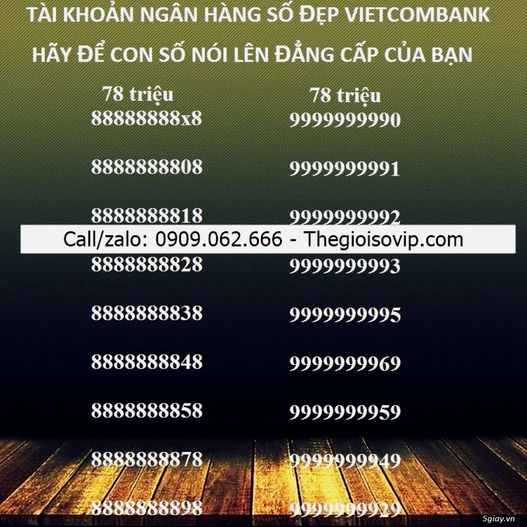 Nhận mở tài khoản ngân hàng số đẹp vip vietcombank - 1