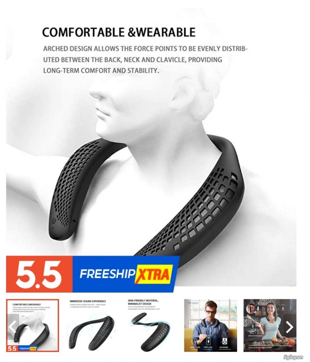 Loa đeo cổ Bluetooth, âm thanh hay chất lượng, chống nước (cao cấp) - 1