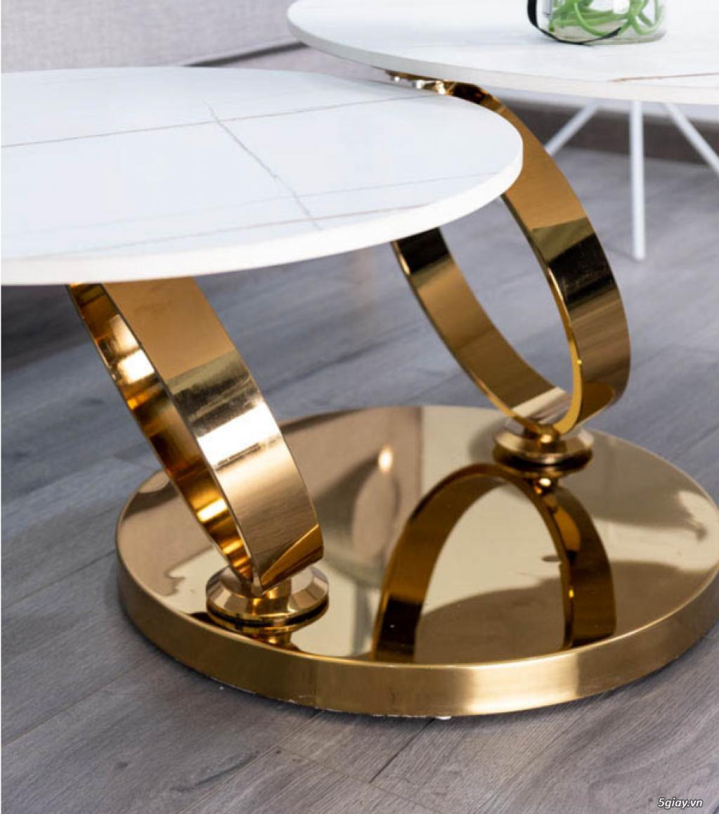 Bàn sofa xoay inox mạ vàng - 2