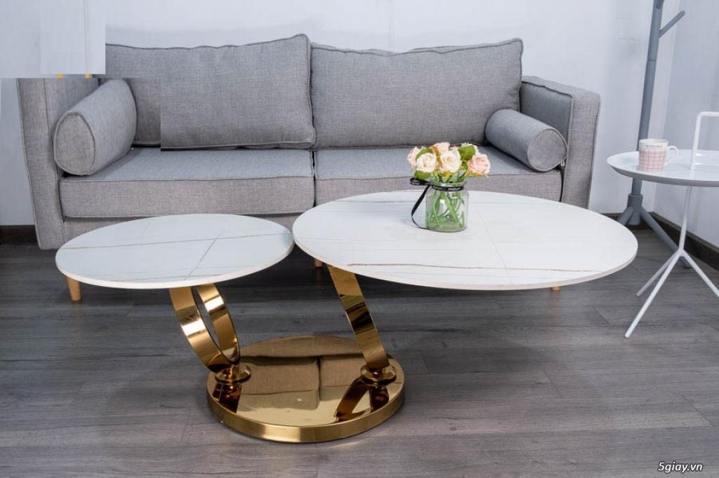 Bàn sofa xoay inox mạ vàng - 1