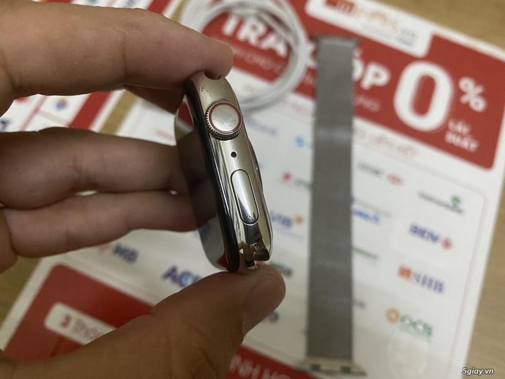 Apple watch s5 44mm màu bạc bản thép, dây thép milanese hàng mỹ ll/a