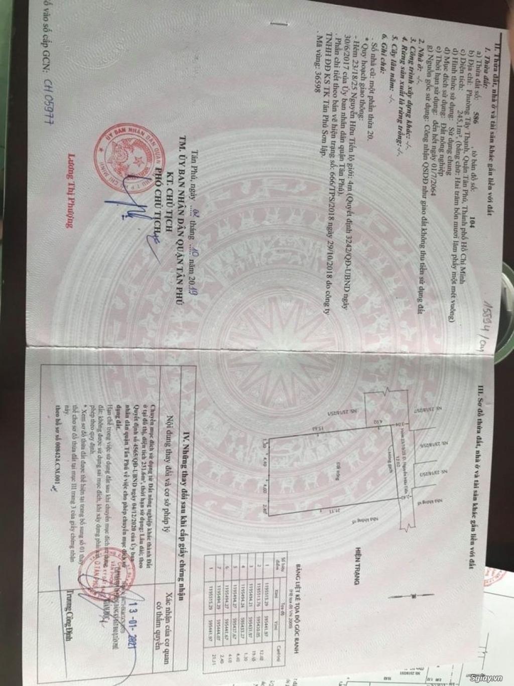 Cần ra đi lô đất hẻm đường Nguyễn Hữu Tiến Q.Tân Phú HCM - 1