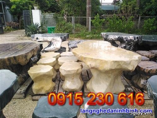 Bàn ghế đá tự nhiên – Mẫu bộ bàn ghế đá biệt thự sân vườn đẹp - 4